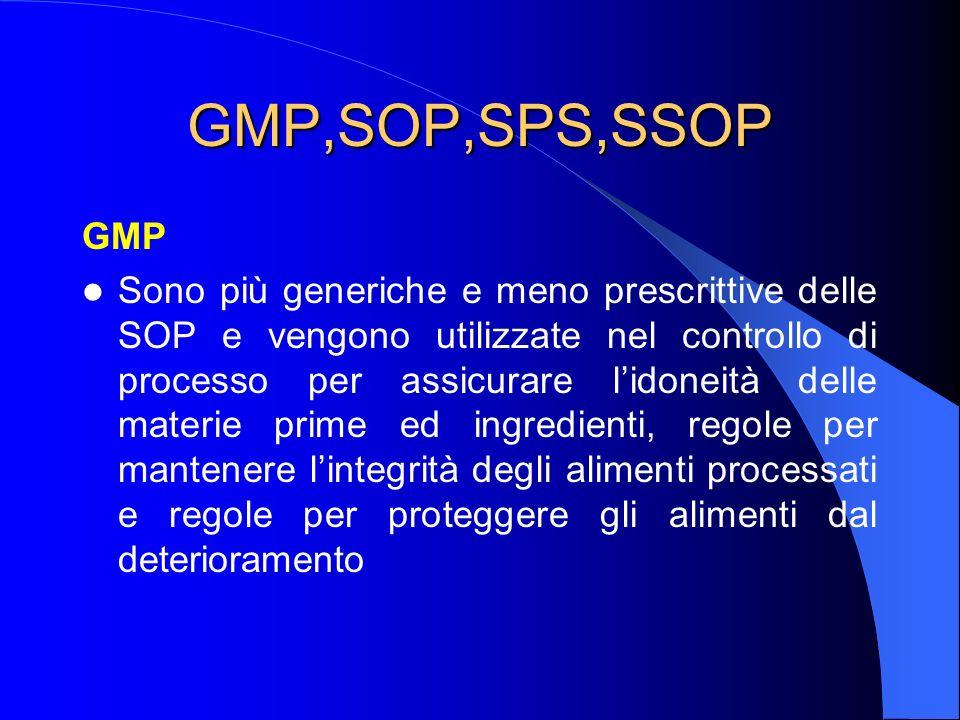 GMP,SOP,SPS,SSOP GMP Sono più generiche e meno prescrittive delle SOP e vengono utilizzate nel controllo di processo per assicurare lidoneità delle materie prime ed ingredienti, regole per mantenere lintegrità degli alimenti processati e regole per proteggere gli alimenti dal deterioramento