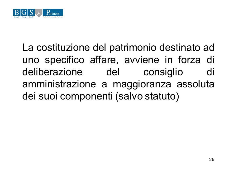 25 La costituzione del patrimonio destinato ad uno specifico affare, avviene in forza di deliberazione del consiglio di amministrazione a maggioranza