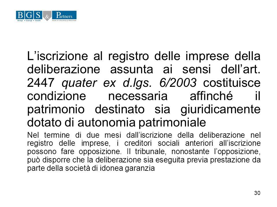 30 Liscrizione al registro delle imprese della deliberazione assunta ai sensi dellart. 2447 quater ex d.lgs. 6/2003 costituisce condizione necessaria
