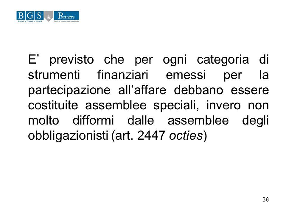 36 E previsto che per ogni categoria di strumenti finanziari emessi per la partecipazione allaffare debbano essere costituite assemblee speciali, inve