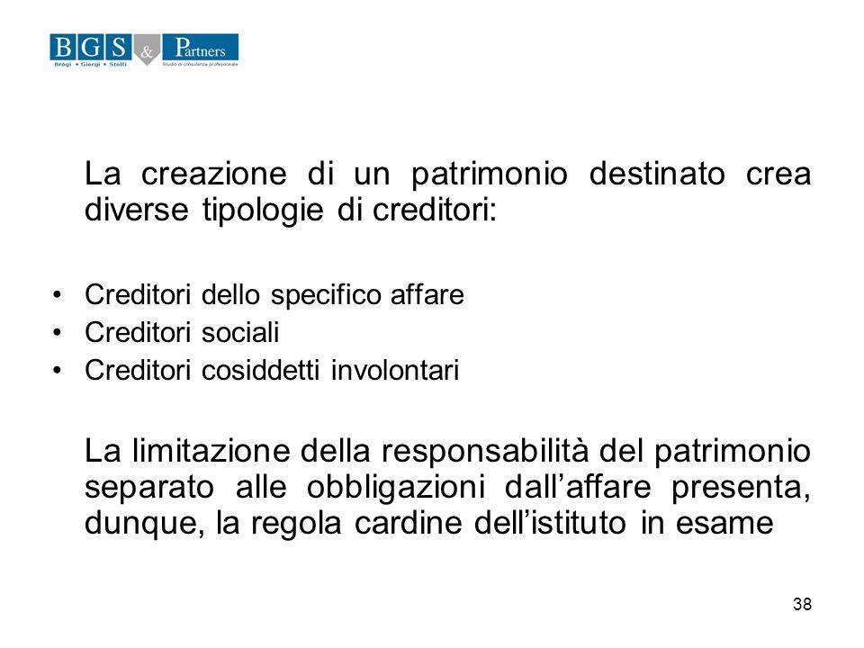 38 La creazione di un patrimonio destinato crea diverse tipologie di creditori: Creditori dello specifico affare Creditori sociali Creditori cosiddett