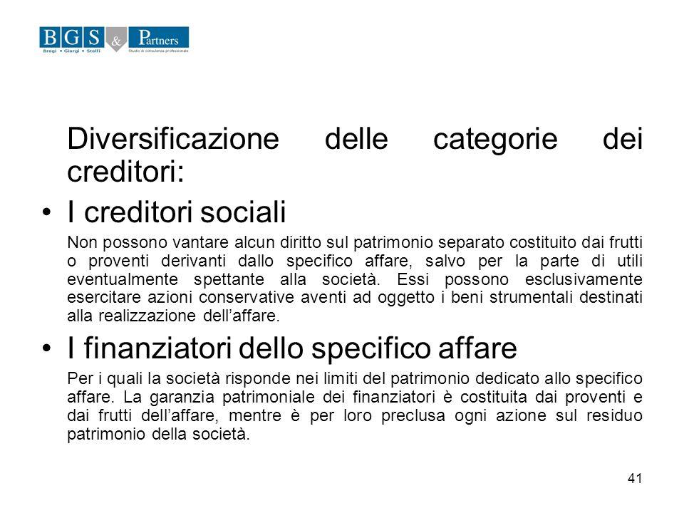 41 Diversificazione delle categorie dei creditori: I creditori sociali Non possono vantare alcun diritto sul patrimonio separato costituito dai frutti