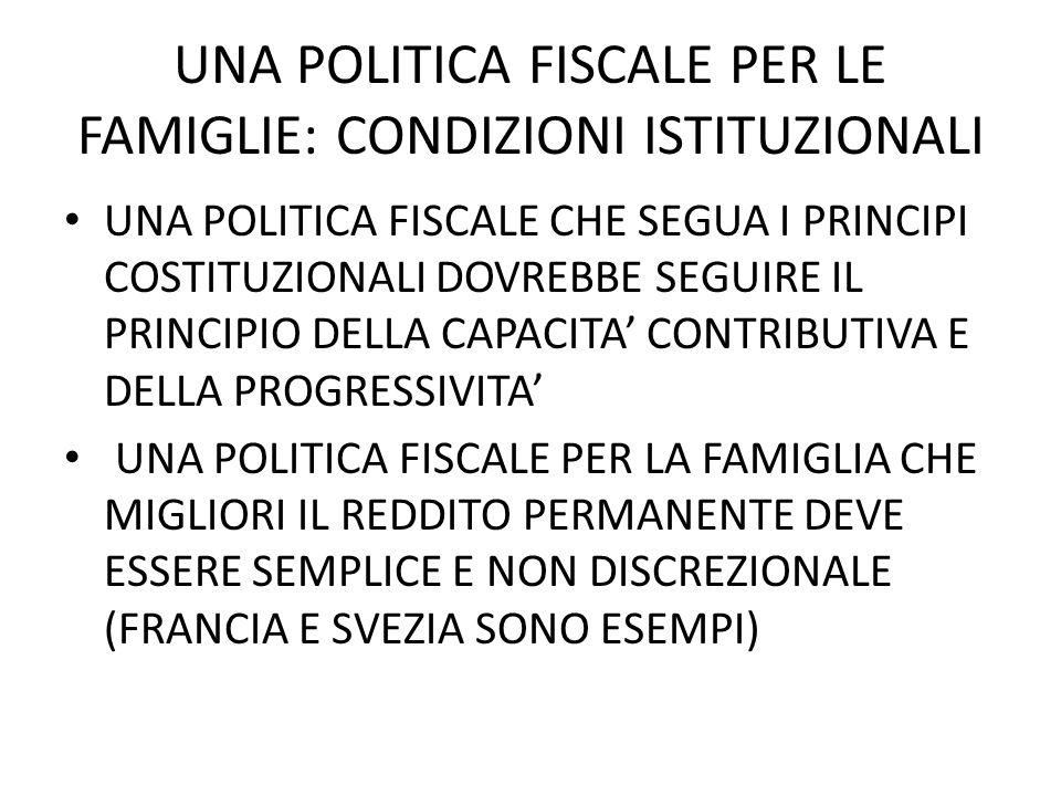 UNA POLITICA FISCALE PER LE FAMIGLIE: CONDIZIONI ISTITUZIONALI UNA POLITICA FISCALE CHE SEGUA I PRINCIPI COSTITUZIONALI DOVREBBE SEGUIRE IL PRINCIPIO