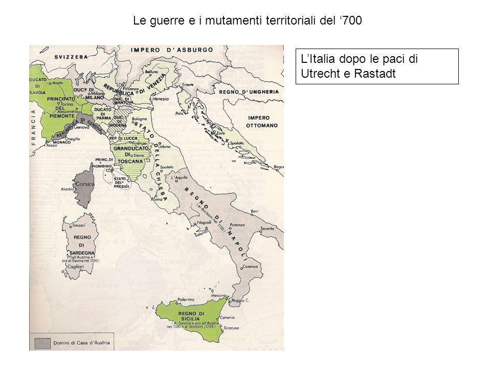 Le guerre e i mutamenti territoriali del 700 LItalia dopo le paci di Utrecht e Rastadt