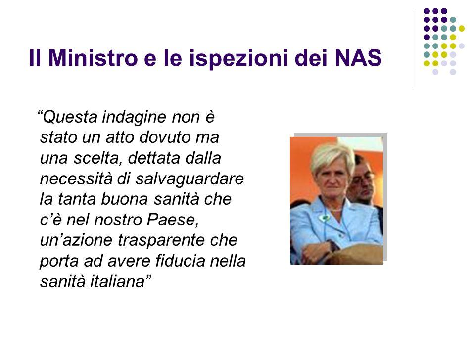 Il Ministro e le ispezioni dei NAS Questa indagine non è stato un atto dovuto ma una scelta, dettata dalla necessità di salvaguardare la tanta buona s