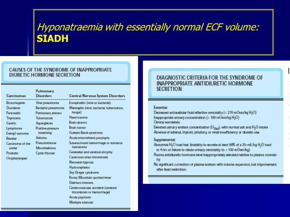 Hyponatraemia with essentially normal ECF volume: SIADH