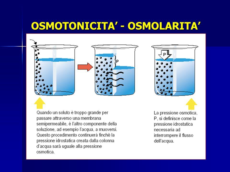 Osmolarità plasmatica Elettroliti Sodio 140 mmol/L Potassio 4 mmol/L Cloro 104 mmol/L Bicarbonato 24 mmol/L Magnesio 1 mmol/L Calcio 2.5 mmol/L Non elettroliti Azotemia 5 mmol/L Glicemia 5 mmol/L v.n.