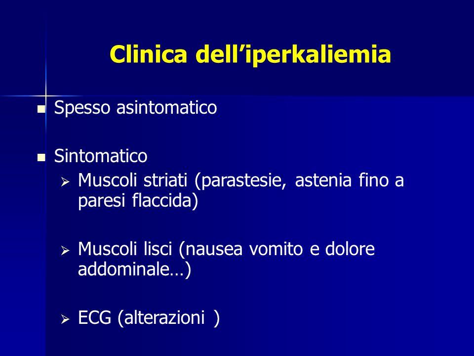 Clinica delliperkaliemia Spesso asintomatico Sintomatico Muscoli striati (parastesie, astenia fino a paresi flaccida) Muscoli lisci (nausea vomito e d