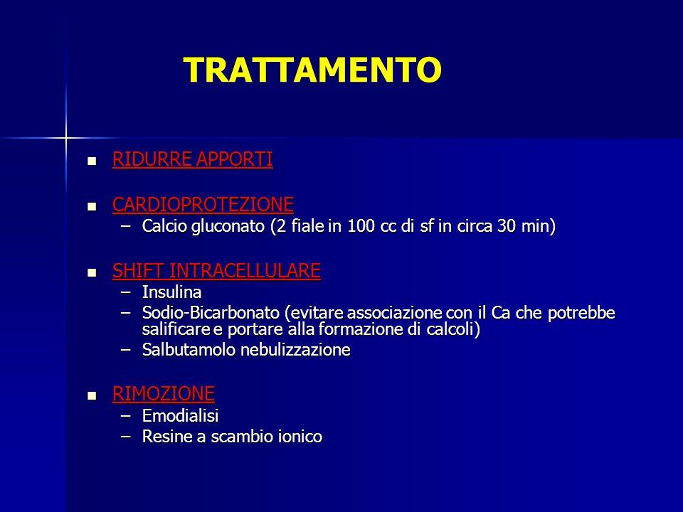 TRATTAMENTO RIDURRE APPORTI RIDURRE APPORTI CARDIOPROTEZIONE CARDIOPROTEZIONE –Calcio gluconato (2 fiale in 100 cc di sf in circa 30 min) SHIFT INTRAC