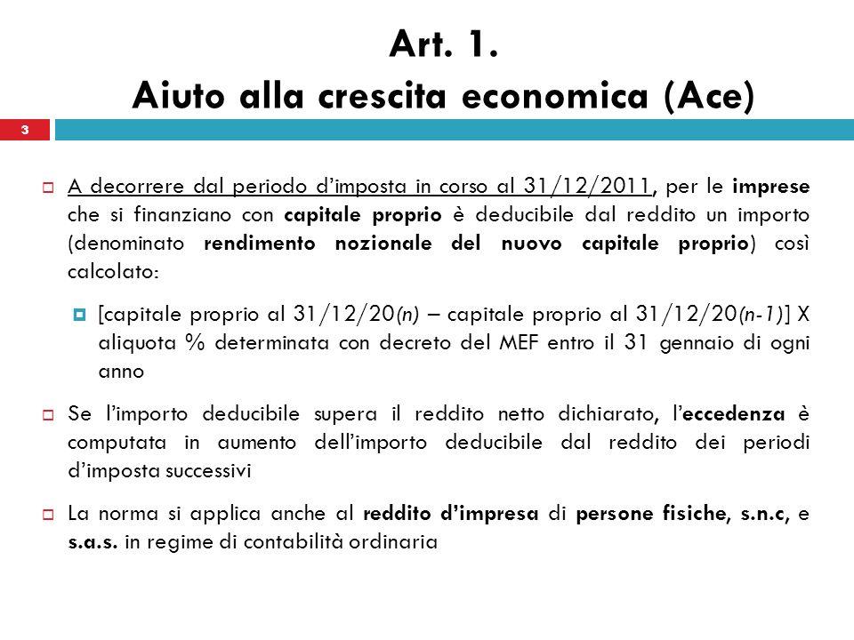 3 Art. 1. Aiuto alla crescita economica (Ace) A decorrere dal periodo dimposta in corso al 31/12/2011, per le imprese che si finanziano con capitale p