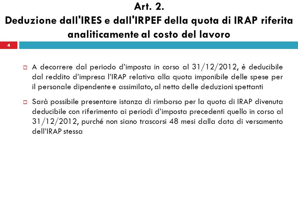 Art. 2. Deduzione dall'IRES e dall'IRPEF della quota di IRAP riferita analiticamente al costo del lavoro A decorrere dal periodo dimposta in corso al