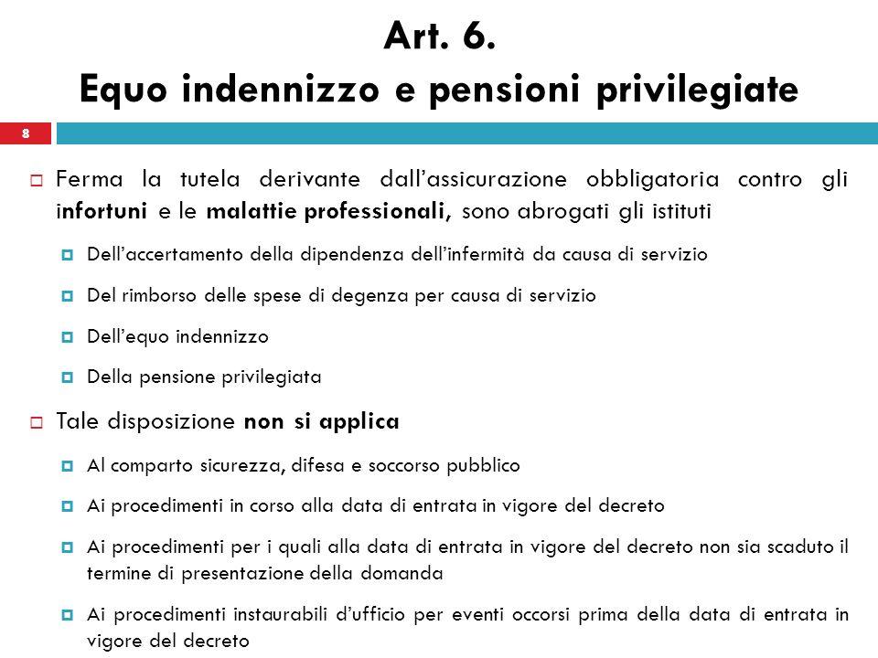 8 Art. 6. Equo indennizzo e pensioni privilegiate Ferma la tutela derivante dallassicurazione obbligatoria contro gli infortuni e le malattie professi
