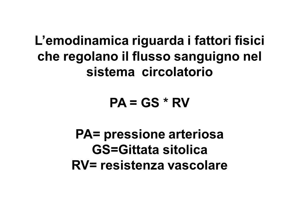 Lemodinamica riguarda i fattori fisici che regolano il flusso sanguigno nel sistema circolatorio PA = GS * RV PA= pressione arteriosa GS=Gittata sitol