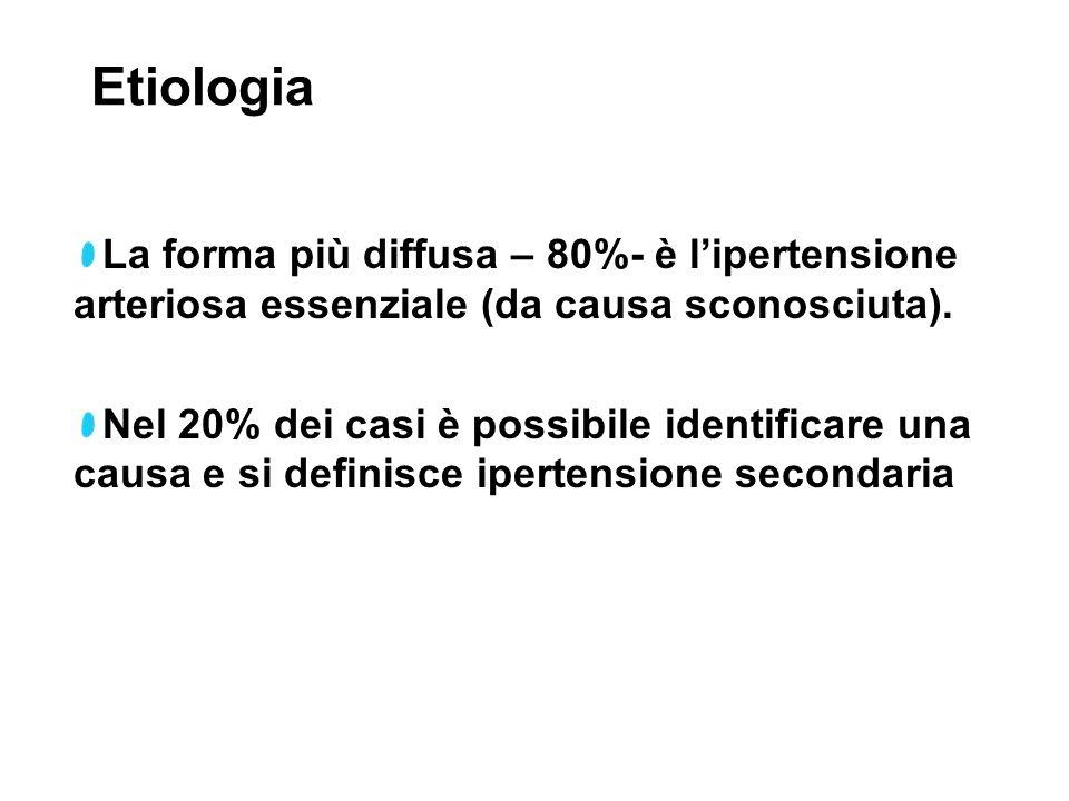 Etiologia La forma più diffusa – 80%- è lipertensione arteriosa essenziale (da causa sconosciuta). Nel 20% dei casi è possibile identificare una causa
