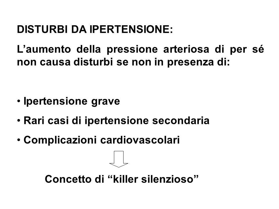 DISTURBI DA IPERTENSIONE: Laumento della pressione arteriosa di per sé non causa disturbi se non in presenza di: Ipertensione grave Rari casi di ipert