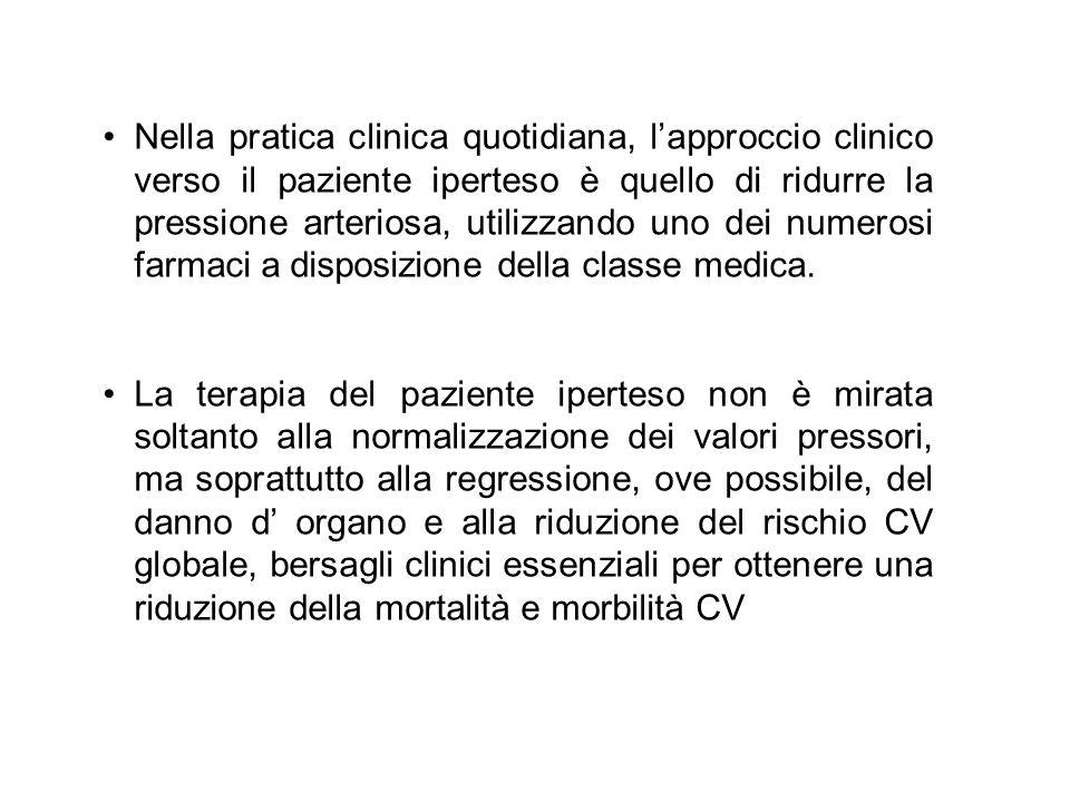 Nella pratica clinica quotidiana, lapproccio clinico verso il paziente iperteso è quello di ridurre la pressione arteriosa, utilizzando uno dei numero