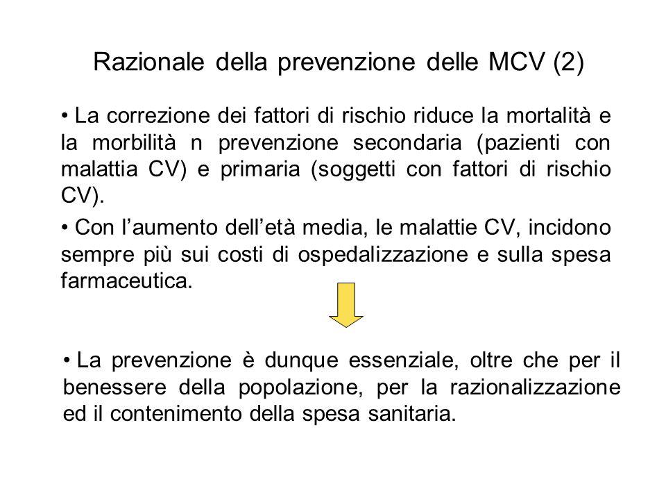 Razionale della prevenzione delle MCV (2) La correzione dei fattori di rischio riduce la mortalità e la morbilità n prevenzione secondaria (pazienti c