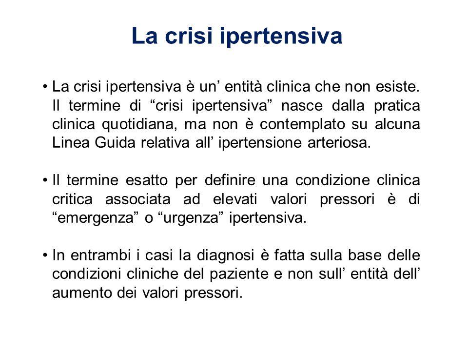 La crisi ipertensiva La crisi ipertensiva è un entità clinica che non esiste. Il termine di crisi ipertensiva nasce dalla pratica clinica quotidiana,