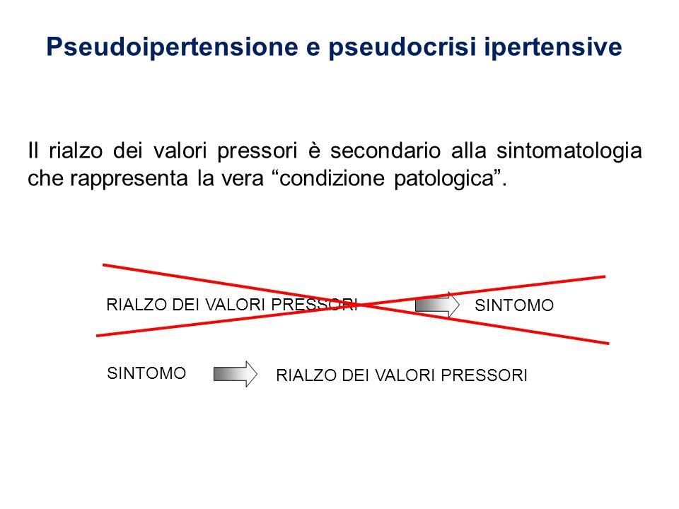 Pseudoipertensione e pseudocrisi ipertensive Il rialzo dei valori pressori è secondario alla sintomatologia che rappresenta la vera condizione patolog