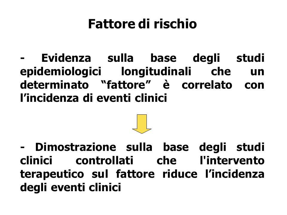 Fattore di rischio - Evidenza sulla base degli studi epidemiologici longitudinali che un determinato fattore è correlato con lincidenza di eventi clin