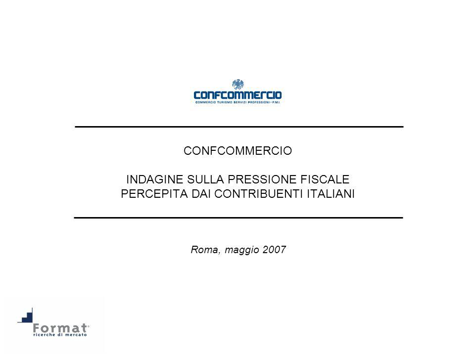 Indagine condotta da Format Srl – ricerche per conto di Confcommercio 22 10) A suo avviso, quale sarà landamento futuro (ossia il prossimo anno, nel 2008 sul 2007, e poi più avanti nel tempo) della pressione fiscale.