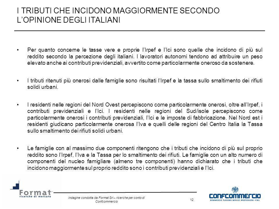 Indagine condotta da Format Srl – ricerche per conto di Confcommercio 12 I TRIBUTI CHE INCIDONO MAGGIORMENTE SECONDO LOPINIONE DEGLI ITALIANI Per quan