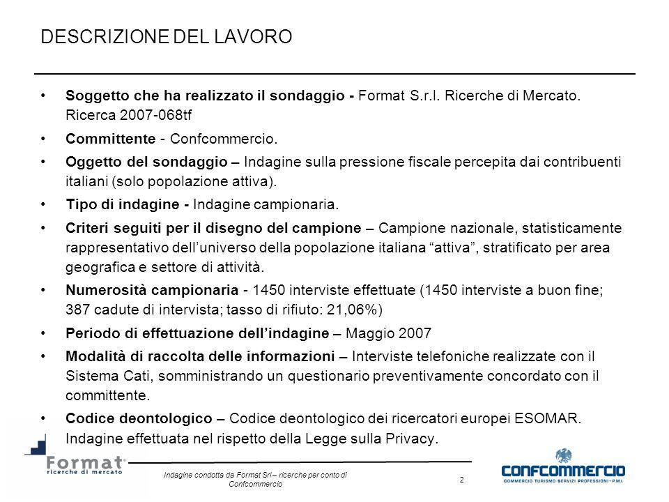 Indagine condotta da Format Srl – ricerche per conto di Confcommercio 23 11) Come giudica la qualità dei servizi pubblici delle seguenti tipologie in rapporto al prelievo fiscale.