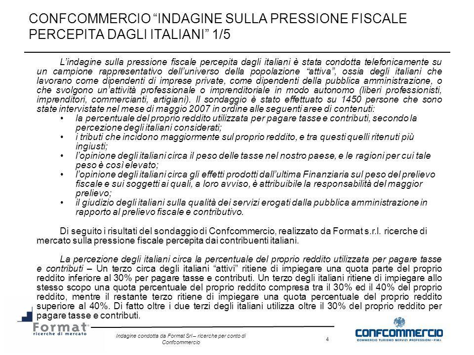 Indagine condotta da Format Srl – ricerche per conto di Confcommercio 4 CONFCOMMERCIO INDAGINE SULLA PRESSIONE FISCALE PERCEPITA DAGLI ITALIANI 1/5 Li