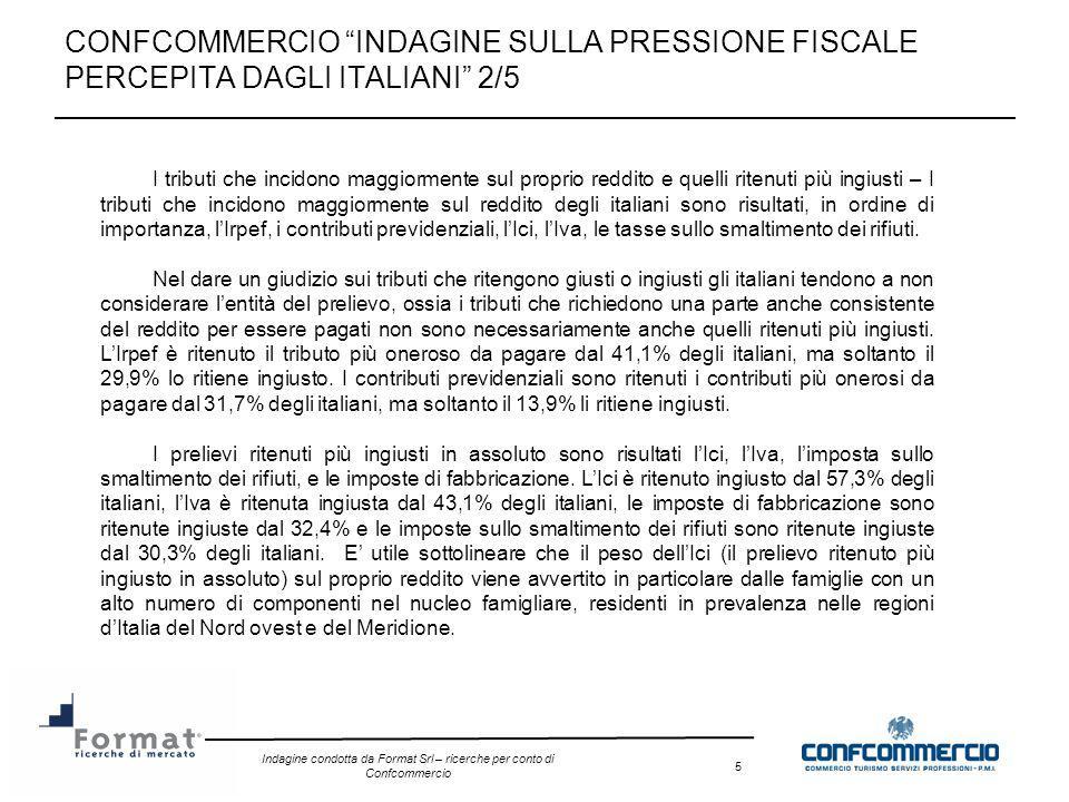 Indagine condotta da Format Srl – ricerche per conto di Confcommercio 6 CONFCOMMERCIO INDAGINE SULLA PRESSIONE FISCALE PERCEPITA DAGLI ITALIANI 3/5 Lopinione degli italiani circa il peso delle tasse nel nostro paese, e le ragioni per cui tale peso è così elevato – Il 59,2% degli italiani ritiene che il peso delle tasse in Italia sia troppo elevato, il 38,1% ritiene che sia mediamente elevato e soltanto il 2,6% ritiene che non sia pesante.