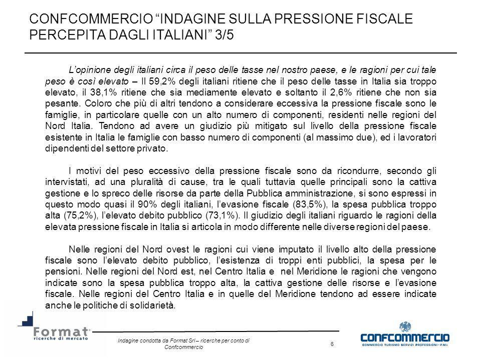 Indagine condotta da Format Srl – ricerche per conto di Confcommercio 6 CONFCOMMERCIO INDAGINE SULLA PRESSIONE FISCALE PERCEPITA DAGLI ITALIANI 3/5 Lo