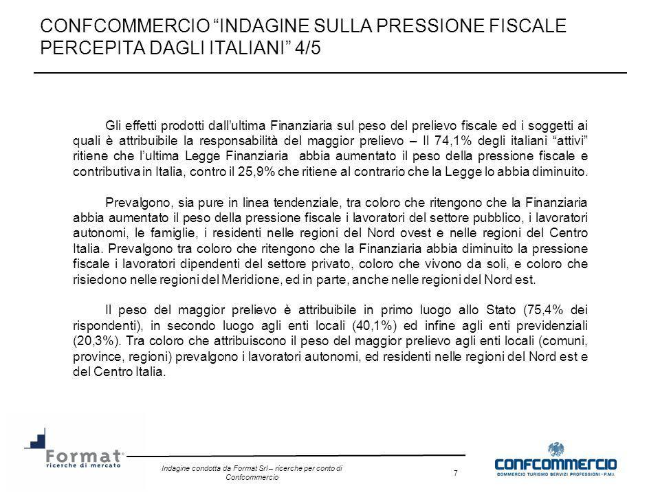 Indagine condotta da Format Srl – ricerche per conto di Confcommercio 7 CONFCOMMERCIO INDAGINE SULLA PRESSIONE FISCALE PERCEPITA DAGLI ITALIANI 4/5 Gl