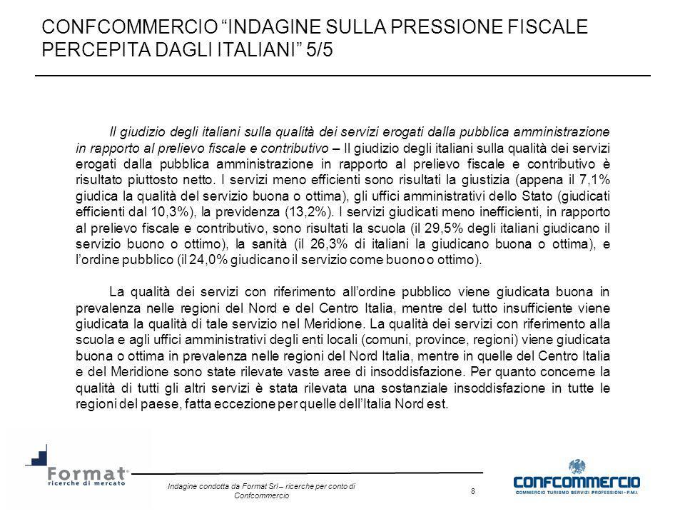 Indagine condotta da Format Srl – ricerche per conto di Confcommercio 8 CONFCOMMERCIO INDAGINE SULLA PRESSIONE FISCALE PERCEPITA DAGLI ITALIANI 5/5 Il