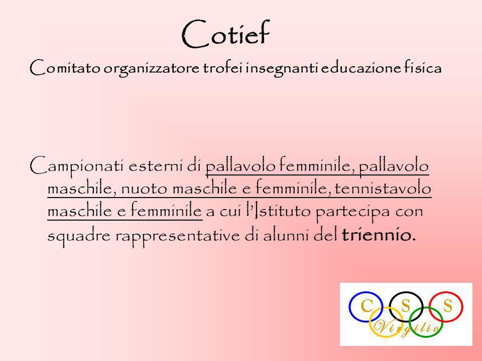 Cotief Comitato organizzatore trofei insegnanti educazione fisica Campionati esterni di pallavolo femminile, pallavolo maschile, nuoto maschile e femm