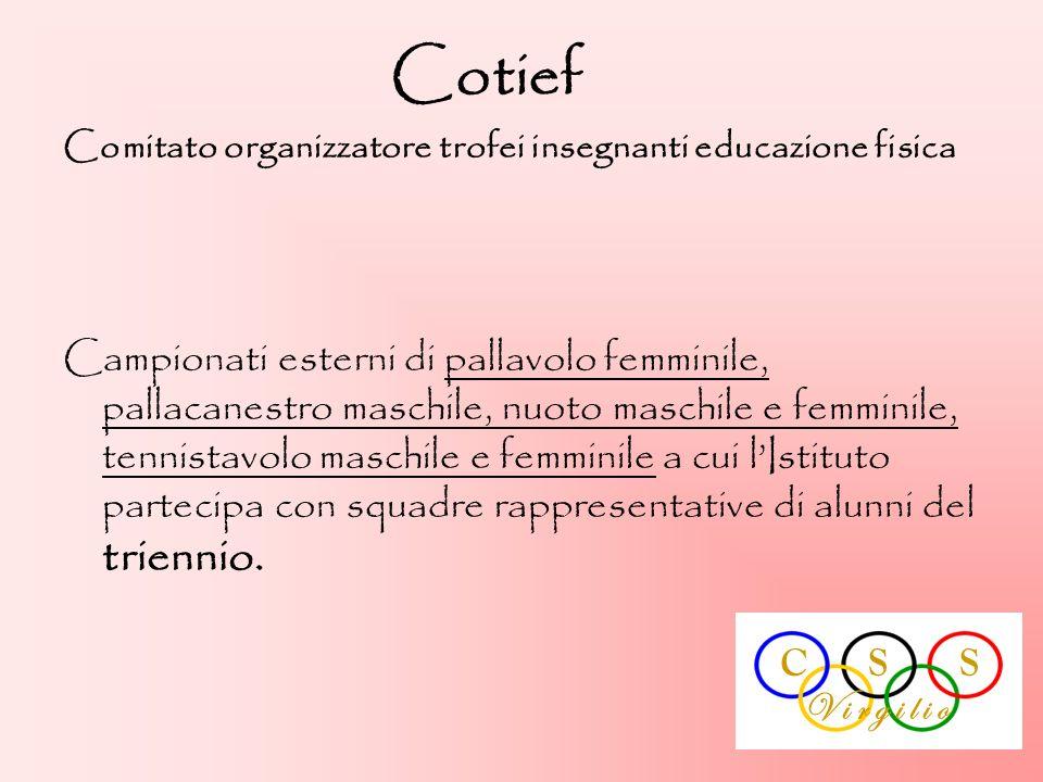 Cotief Comitato organizzatore trofei insegnanti educazione fisica Campionati esterni di pallavolo femminile, pallacanestro maschile, nuoto maschile e