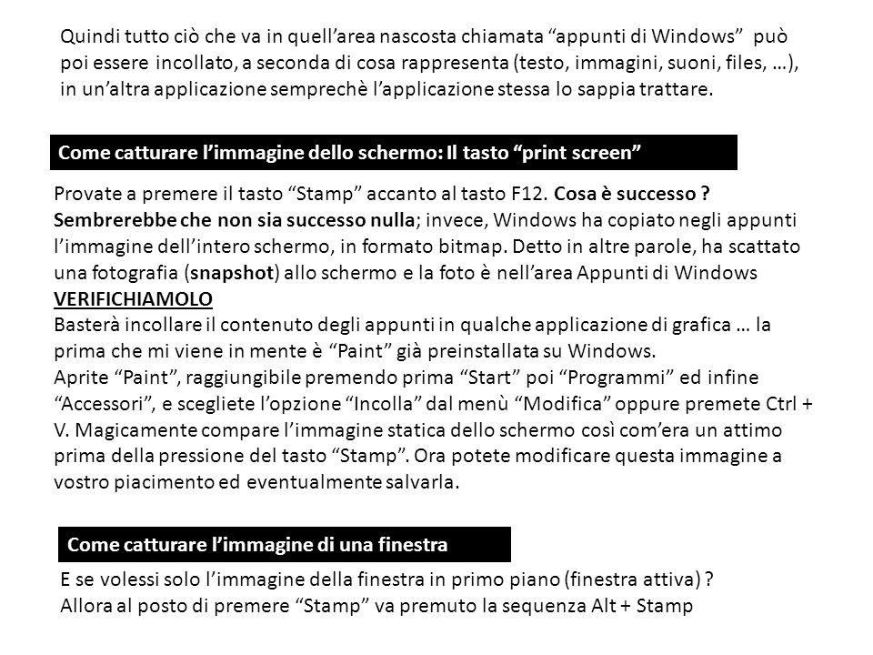 Quindi tutto ciò che va in quellarea nascosta chiamata appunti di Windows può poi essere incollato, a seconda di cosa rappresenta (testo, immagini, su