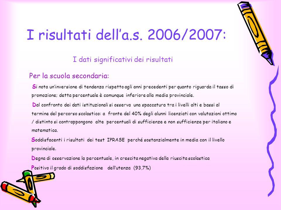 I risultati della.s. 2006/2007: I dati significativi dei risultati Per la scuola secondaria: S i nota uninversione di tendenza rispetto agli anni prec