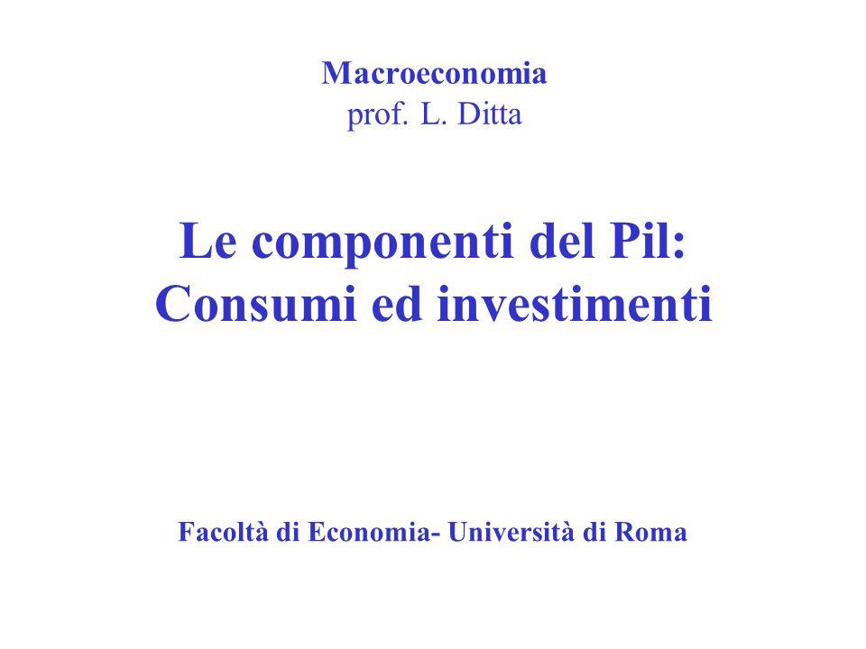 Macroeconomia prof. L. Ditta Le componenti del Pil: Consumi ed investimenti Facoltà di Economia- Università di Roma