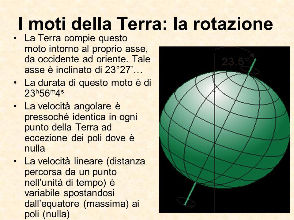 I moti della Terra: la rotazione La Terra compie questo moto intorno al proprio asse, da occidente ad oriente. Tale asse è inclinato di 23°27… La dura