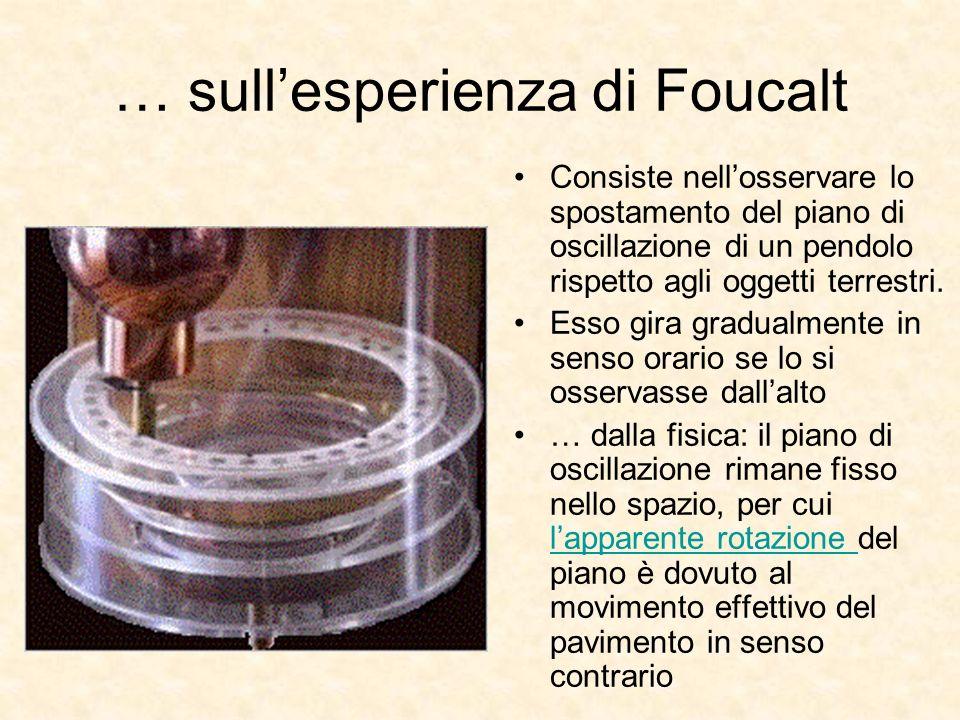 … sullesperienza di Foucalt Consiste nellosservare lo spostamento del piano di oscillazione di un pendolo rispetto agli oggetti terrestri. Esso gira g
