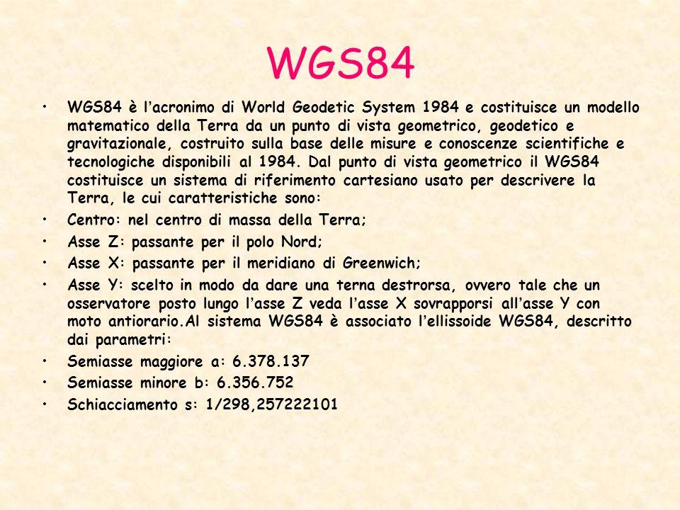 WGS84 WGS84 è lacronimo di World Geodetic System 1984 e costituisce un modello matematico della Terra da un punto di vista geometrico, geodetico e gra
