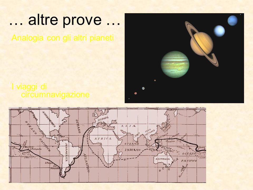 … altre prove … Analogia con gli altri pianeti I viaggi di circumnavigazione