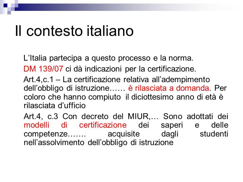 Il contesto italiano LItalia partecipa a questo processo e la norma. DM 139/07 ci dà indicazioni per la certificazione. Art.4,c.1 – La certificazione