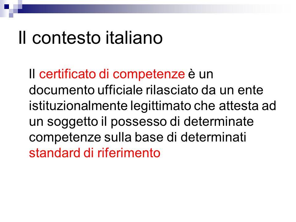Il contesto italiano Il certificato di competenze è un documento ufficiale rilasciato da un ente istituzionalmente legittimato che attesta ad un soggetto il possesso di determinate competenze sulla base di determinati standard di riferimento