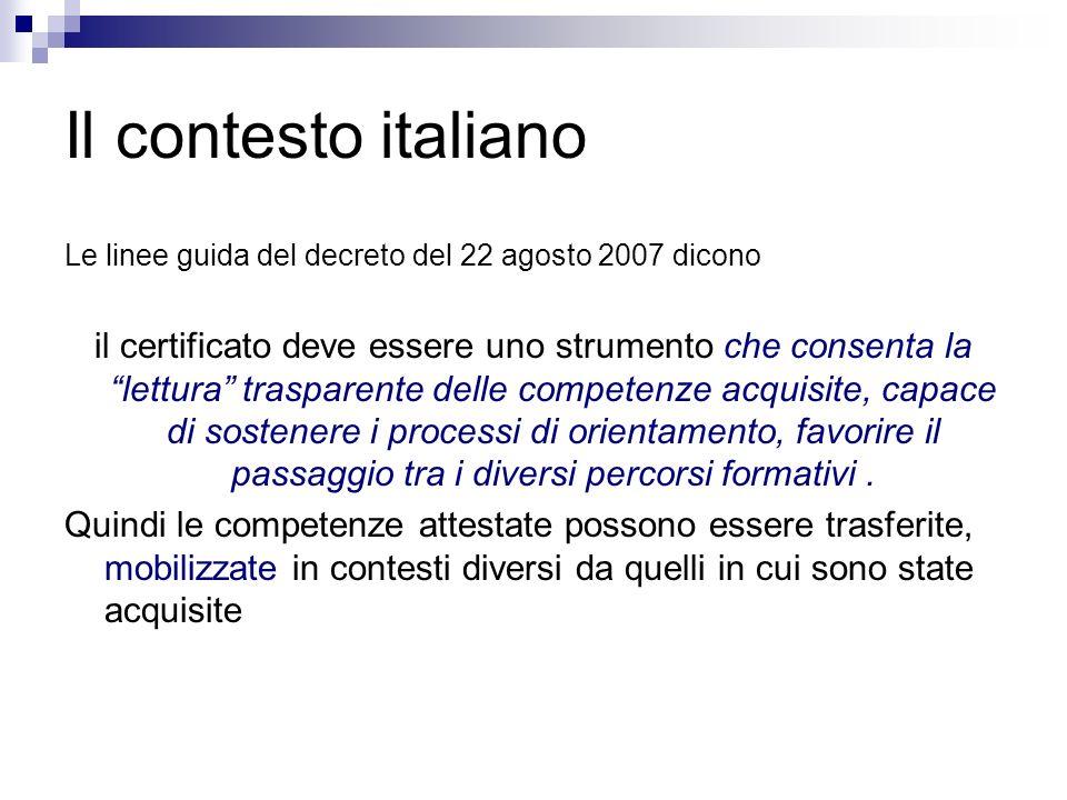 Il contesto italiano Le linee guida del decreto del 22 agosto 2007 dicono il certificato deve essere uno strumento che consenta la lettura trasparente