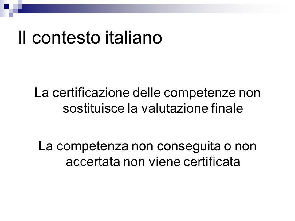 Il contesto italiano La certificazione delle competenze non sostituisce la valutazione finale La competenza non conseguita o non accertata non viene c
