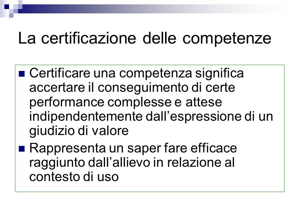 La certificazione delle competenze Certificare una competenza significa accertare il conseguimento di certe performance complesse e attese indipendentemente dallespressione di un giudizio di valore Rappresenta un saper fare efficace raggiunto dallallievo in relazione al contesto di uso