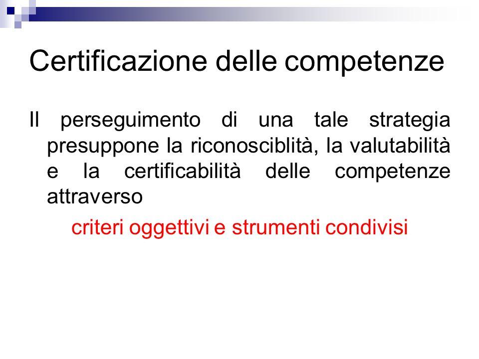 Certificazione delle competenze Il perseguimento di una tale strategia presuppone la riconosciblità, la valutabilità e la certificabilità delle competenze attraverso criteri oggettivi e strumenti condivisi