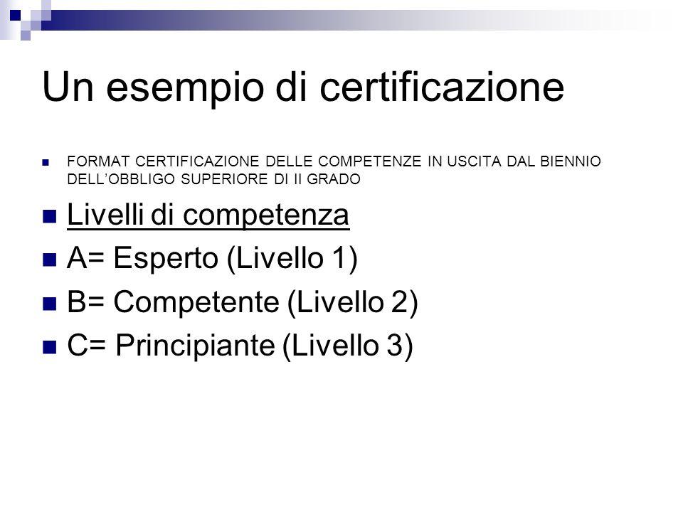 Un esempio di certificazione FORMAT CERTIFICAZIONE DELLE COMPETENZE IN USCITA DAL BIENNIO DELLOBBLIGO SUPERIORE DI II GRADO Livelli di competenza A= E