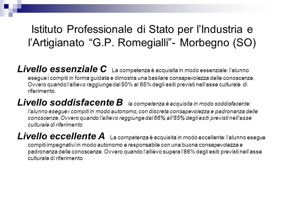 Istituto Professionale di Stato per lIndustria e lArtigianato G.P. Romegialli- Morbegno (SO) Livello essenziale C La competenza è acquisita in modo es