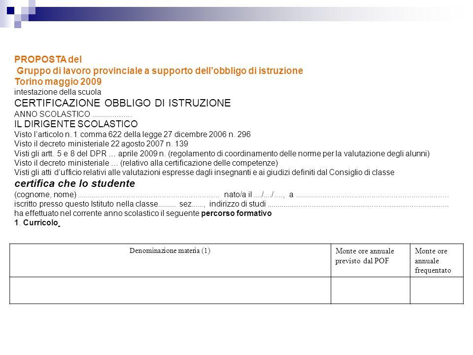 PROPOSTA del Gruppo di lavoro provinciale a supporto dellobbligo di istruzione Torino maggio 2009 intestazione della scuola CERTIFICAZIONE OBBLIGO DI